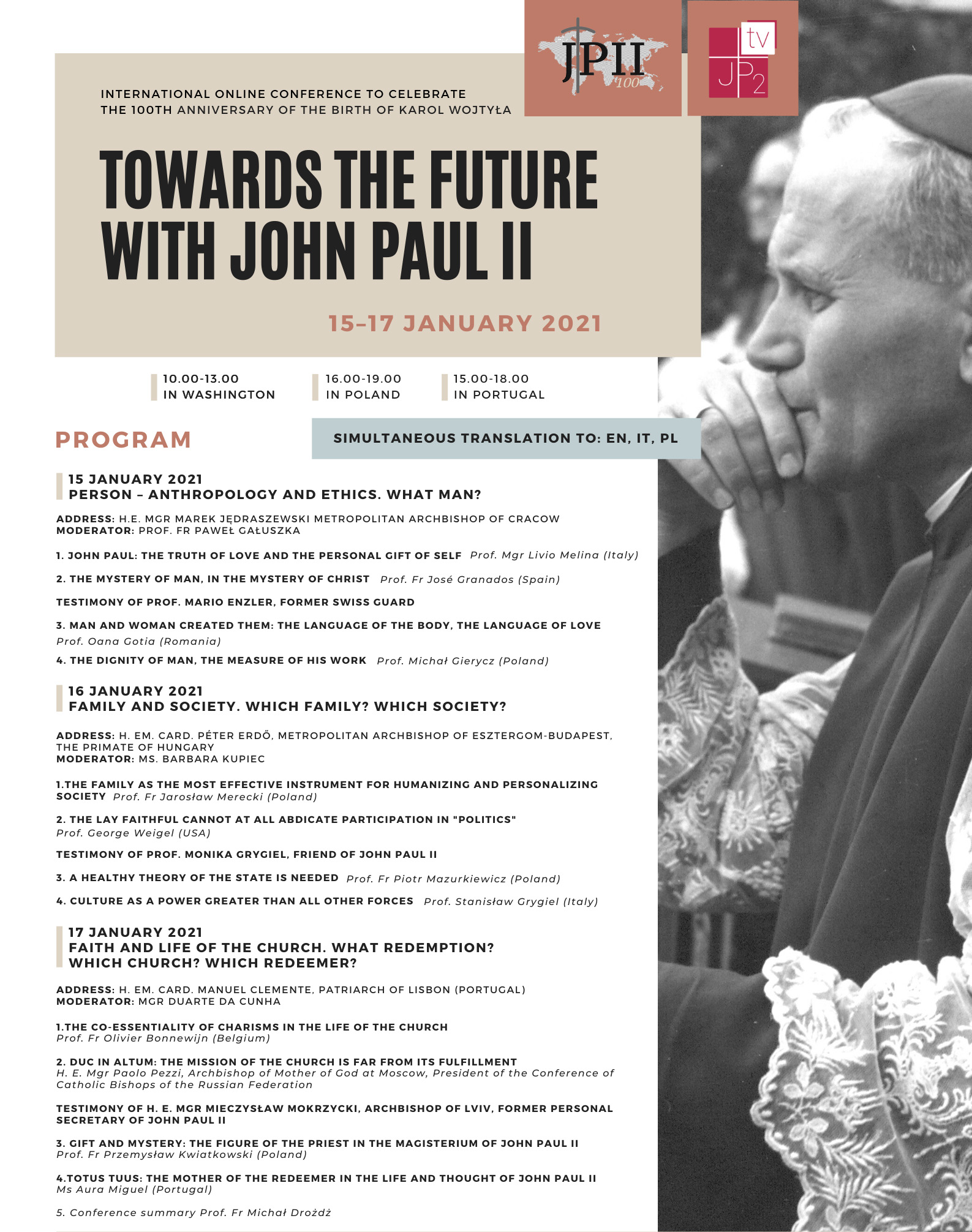 Online Symposium to celebrate the 100th anniversary of John Paul II birth (15th-17th January). Register Here!